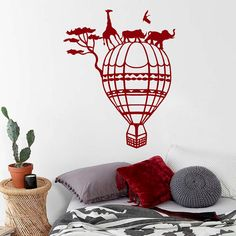 Wall Decal Vinyl Sticker Hot Air Balloon Aerostat Africa Wild Nature  Animals Giraffe Rhinoceros Elephant Childrenu0027s Part 74