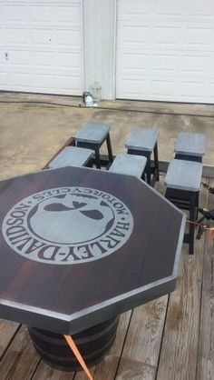 Harley Davidson barrel table and stools #harleydavidsongifts