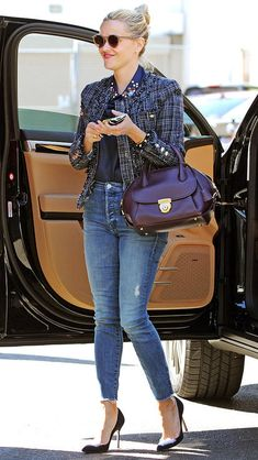 Fall outfits from celebrities: Reese Witherspoon in jeans, heels, and a tweed jacket