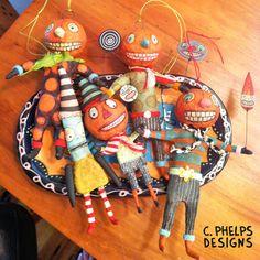 Spun Cotton Pumpkin Man Ornament by CphelpsDesigns on Etsy