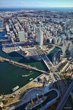 City Skylines, Cityscape Art, Beautiful Moon, Yokohama, City Art, Stairways, Nice View, Bridges, Roads