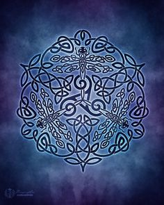 Celtic Dragonflies Triskele Knotwork Pagan Wiccan by BrightArrow