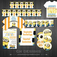 Despicable Me/Minion DIY Birthday Package by DesignsbyCassieCM, $30.00
