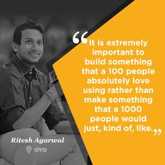 College dropout at 17, millionaire at 22. Ritesh Agarwal - the founder and CEO at OYO Rooms. #ThursdayThoughts #BeInspired