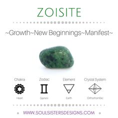 Metaphysical Healing Properties of Zoisite, including associated Chakra, Zodiac and Element, along with Crystal System/Lattice to assist you in setting up a Crystal Grid. Go to https://www.soulsistersdesigns.com/zoisite to learn more!