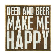 Cabin Decor. Deer and Beer Make Me Happy