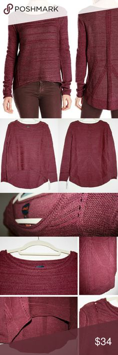 JAG Wine Heather High-Low Intricate Sweater NWT I absolutely love this unique and beautiful sweater! The patterns in the knit are intricate and stylish! It has a high-low hemline, and would look great with both leggings and jeans! The color is a burgundy, wine-toned red with lots of texture in the knit - which is a mix of 67% acrylic, 23% wool, and 10% nylon. This sweater will keep you warm without being too bulky! Fits a little roomy, but not oversized, so would probably work for a size…
