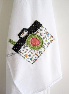 Appliqued Tea Towel Snapshot Camera  100 by hangtightstudio88, $14.00