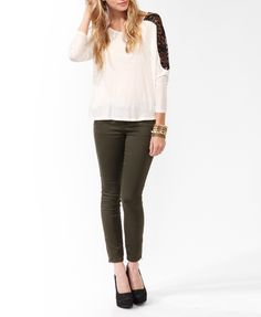High-Low Lace Panel Top