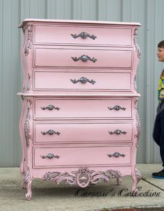 French chest painted in a Pewtered Pink finish. Gorgeous detail and beautifully crafted construction. Pink Furniture, Refurbished Furniture, Upcycled Furniture, Shabby Chic Furniture, Furniture Projects, Furniture Makeover, Vintage Furniture, Painted Furniture, Furniture Stores