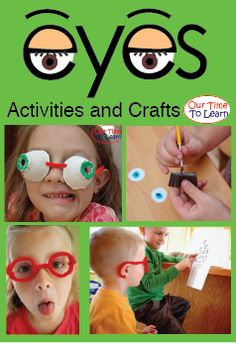 Lesson activity ideas about eyes for your human body unit. From the Our Time to Learn blog and workbook, for ages 4-6, preschool, kindergarten, 1st grade, and homeschool.