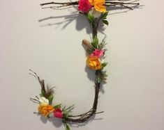 Woodland nursery twig letter, custom wooden floral letters, rustic home decor, preserved flowers, boho decorations Rustic Wall Letters, Letter Wall, Letter Board, Wedding Shower Decorations, Wedding Shower Gifts, Gift Wedding, Rustic Wedding Gifts, Rustic Weddings, Woodland Wedding