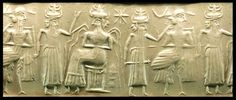 archaicwonder: Mysterious Akkadian Cylinder Seal... at Ancient & Medieval History--2300-2200 BC ENKI THE WATER GOD & OTHER GODS --BLACK JASPER SEAL.