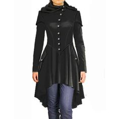 Ladies Corset Hooded Long-Sleeve Steam Punk Style Overcoat S-XL