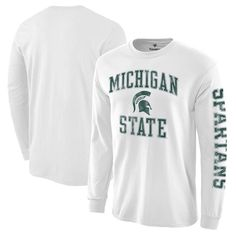 Michigan State Spartans Fanatics Branded Distressed Arch Over Logo Long Sleeve Hit T-Shirt - White - $24.99