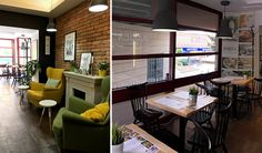 Marica Coffee House - Veszprém, Hungary / 2016 #interiordesign #cafe #interior #lounge #contract #furniture #b2b #retail #yellowlounge #greenchairs Bistro Interior, Cafe Interior, Interior Design, Contract Furniture, Hungary, Coffee Shop, Conference Room, Retail, Lounge