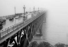 Rushing out of Mist by Joseph Qiu on 500px This is the most famous bridge on the Yangtze River. It's a double-decked road-rail truss bridge built in 1968. The lower deck is a double-track railroad that completes the Beijing-Shanghai Railway, which had been divided by the Yangtze for decades. After years of upgrade, this 45-year old bridge is now able to support high-speed trains.