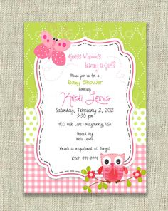 Baby Shower Girl Invitation Owl Butterfly Pink by girlsatplay, $12.00