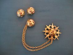 Art Deco Sweater Pin and Earrings  OOAK by CrimsonVintique on Etsy, $42.00