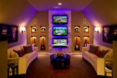 How To Create A Man Cave Garage We love everything about this man cave! The room has warm painted walls, TVs, a guitar display and