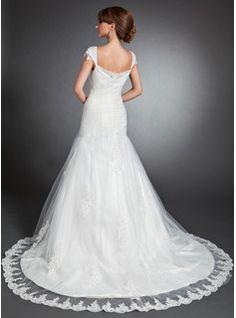 Trumpet/Mermaid Sweetheart Chapel Train Satin Tulle Wedding Dress With Ruffle Lace Beading (002015150) - JJsHouse