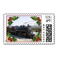 Home on the Train for Christmas Postage Stamps #holiday #postage #christmas