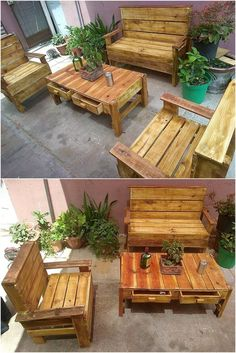 Old Pallets Ideas Pallets wooden rustic furniture for outdoors // outdoor living space pallet furniture Unique Wood Furniture, Rustic Outdoor Furniture, Wooden Pallet Furniture, Log Furniture, Wooden Pallets, Furniture Stores, Furniture Design, Furniture Removal, Cheap Furniture