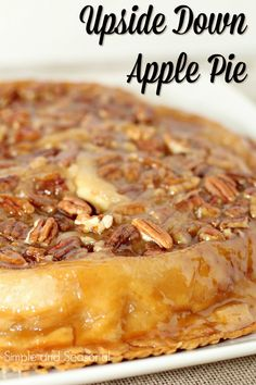 Turn regular old apple pie on its head with this sticky and delicious Upside Down Apple Pie! It's the perfect companion to pumpkin pie for Thanksgiving dinner. Upside Down Apple Pie Fun Desserts, Delicious Desserts, Dessert Recipes, Yummy Food, Holiday Desserts, Apple Pie Recipes, Fall Recipes, Holiday Recipes, Amish Recipes