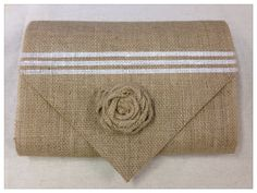"Burlap Table Runner  12"", 14"" or 15"" wide - Stripe with burlap roses - Wedding runner Home decor Holiday decorating"