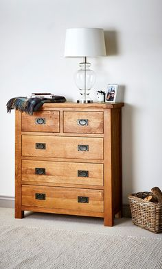 Entryway storage, solid oak rustic chest of drawers.