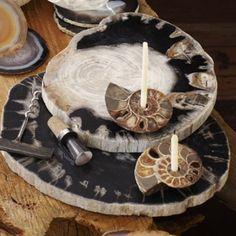 I love petrified wood cheese trays and plates