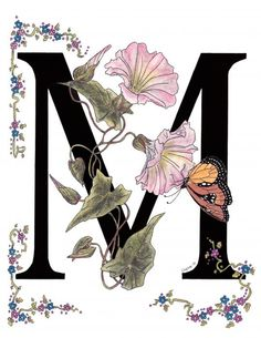 """M stands for Morning Glory flowers and a Monarch butterfly. In the language of flowers, the morning glory means """"Affection""""."""