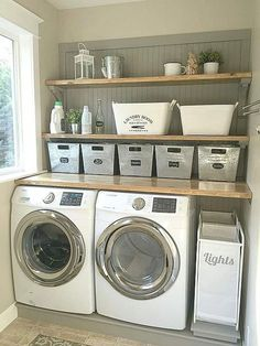 13 Laundry Room Ideas I Found for Inspiration ~ Bluesky at Home - - 13 Awesome Laundry Room Ideas for Inspiration. Practical ideas, decorative inspiration and design advice that you'll love for a laundry room makeover. Small Laundry Rooms, Laundry Room Storage, Laundry Room Design, Laundry Decor, Ikea Laundry Room, Country Laundry Rooms, Laundry Nook, Laundry Closet, Basement Storage