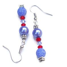 Ice Blue Silver Red Frost Agate Pearls Dangle by ALFAdesigns, $11.99