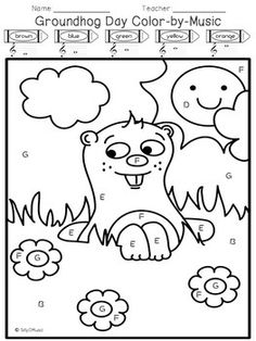 GROUNDHOG DAY COLOR BY NOTE MUSIC COLORING PAGE