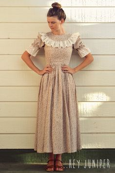 Vintage Style Prairie Dress - Lace and Burgundy Floral Size S