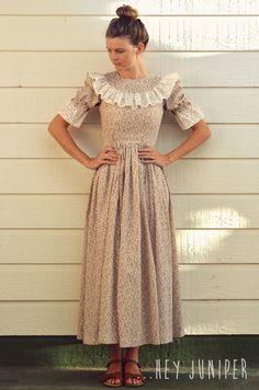 Vintage Style Prairie Dress  Lace and Burgundy by HeyJuniper, $39.00