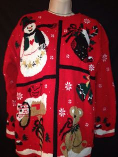Vintage Ugly Christmas Sweater Womens Size Large #nutcracker #Crewneck