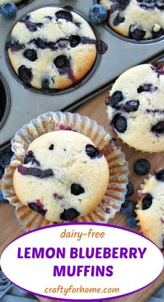 The best and moist dairy-free lemon blueberry muffins recipe that easy to make, perfect for breakfast, lunch box or snack times. Healthy Breakfast On The Go, Delicious Breakfast Recipes, Dessert Recipes, Brunch Recipes, Lemon Blueberry Muffins, Blue Berry Muffins, Dairy Free Recipes, Easy Recipes, Muffin Recipes