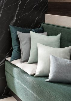 SAHCO Residence Collection - bench and cushions in aqua tones