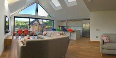 Glass gable end extension Modern Patio Doors, Open Plan Kitchen Living Room, Extension Ideas, Skylight, Kitchen Styling, Extensions, Living Spaces, New Homes, House Ideas