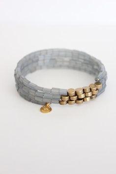 David Aubrey - wrap bracelet with Czech glass and brass beads. Indian Jewelry Earrings, Bead Jewellery, Boho Jewelry, Jewelry Crafts, Beaded Jewelry, Jewelery, Handmade Jewelry, Making Jewelry For Beginners, Jewelry Making