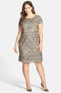 http://rstyle.me/n/tsq4d8kv6 Adrianna Papell Beaded Sheath Dress (Plus Size) at Nordstrom.com. An Art-Deco-inspired pattern of opulent beading over this short-sleeve dress ensures you'll sparkle with glam sophistication at your next big event.