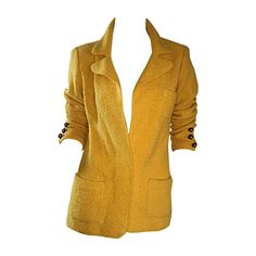 Vintage Adolfo 1970s Mustard Yellow Knit Blazer 70s Fitted Sweater Jacket  | From a collection of rare vintage jackets at https://www.1stdibs.com/fashion/clothing/jackets/