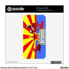 Arizona State Flag Drawing iPhone 4 Decal