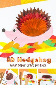 Kickstart the Autumn term with this adorable 3D Paper Hedgehog Craft. Our latest hedgehog craft joins a growing collection of 3D paper crafts; all designed to combine the creativity of craft, the interest of perspective and the fun of movement that capture the imaginations of younger and older children alike. Preschool Hedgehog Craft Ideas | 3D Paper Crafts for Kids | Paper Animal Crafts for Kids | Forest Animal Crafts for Kids | Autumn Hedgehog Crafts for Kids | Fall Crafts for Kids Autumn Paper Animal Crafts, Animal Crafts For Kids, Craft Projects For Kids, Arts And Crafts Projects, Craft Activities For Kids, Preschool Crafts, Craft Ideas, 3d Paper Crafts, Activity Ideas