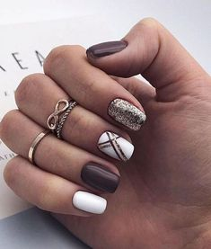 39 Trendy Fall Nails Art Designs Ideas To Look Autumnal and Charming, autumn nail art ideas , fall nail art, fall art de Dark Nail Designs, Fall Nail Art Designs, Classy Nail Designs, Pretty Nail Designs, January Nail Colors, Nails For January, Hair And Nails, My Nails, Finger