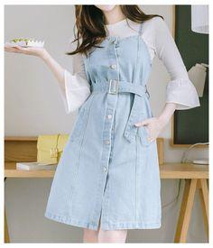 Korean Fashion Dress, Korean Dress, Korean Street Fashion, Ulzzang Fashion, Asian Fashion, Korean Fashion Styles, Cute Overall Outfits, Cute Casual Outfits, Pretty Outfits