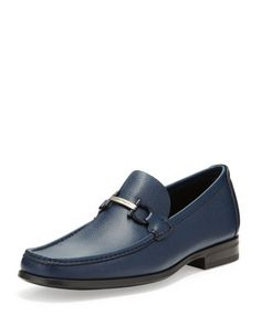Regal Pebbled Leather Loafer, Navy  by Salvatore Ferragamo at Neiman Marcus.