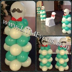 baby shower center pieces for boy mustache theme - Buscar con Google